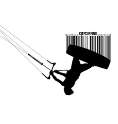 Silhouette kitesurfer kiteboarding kitesurfing vector