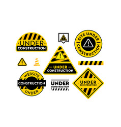 site under construction banners set website vector image
