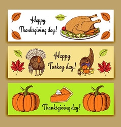 Sketch Thanksgiving banners vector