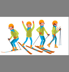 Skiing male holidays cross country skiing vector