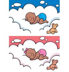Sleeping baby in diaper black vector