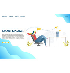 smart speaker website landing page design vector image