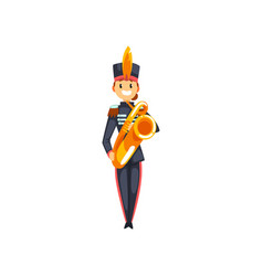 Soldier playing trumpet member of army military vector