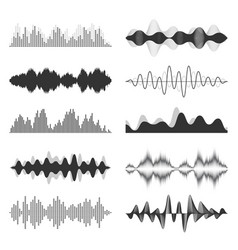 Sound waves collection analog and digital audio vector