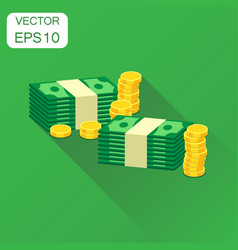 Stacks of gold coins and stacks of dollar cash vector