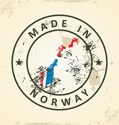 Stamp with map flag of Norway vector image