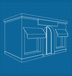 store front white outline drawing on blueprint vector image