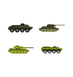 tank icon set flat style vector image