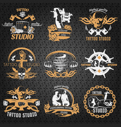 Tattoo vintage style labels vector