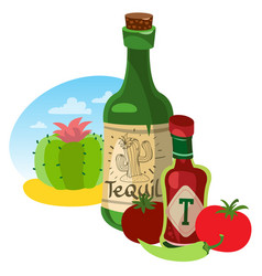 tomato ketchup and tequila hot sauce vector image