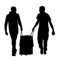 tourist boys traveler carrying suitcase silhouette vector image