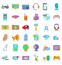 Useful device icons set cartoon style vector