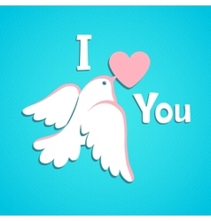 Valentine card with white dove and heart vector