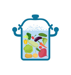 vegetable soup pot food for vegetarians cabbage vector image