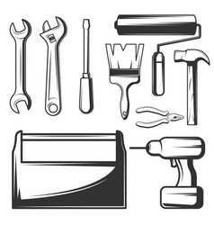 Vintage hand tools icons set vector