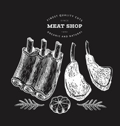Vintage meat on chalk board hand drawn ribs vector