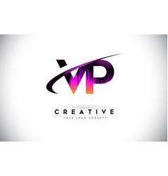 Vp v p grunge letter logo with purple vibrant vector