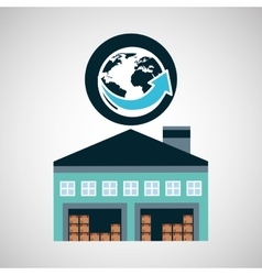 Warehouse building world delivery icon vector