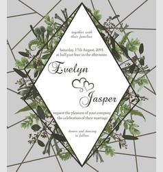 Wedding floral invite card green forest leaf vector