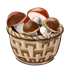 Wicker basket with mushrooms vector