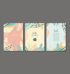 winter cover design set vector image
