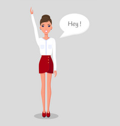 Young slender woman stands with her hands up vector
