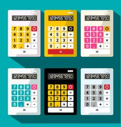 calculators set flat design calculator vector image