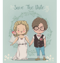 cute little wedding couple vector image