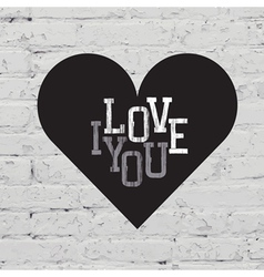 heart sign on white brick vector image