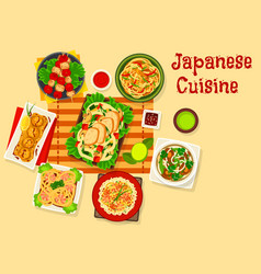japanese cuisine seafood dinner dishes icon vector image vector image