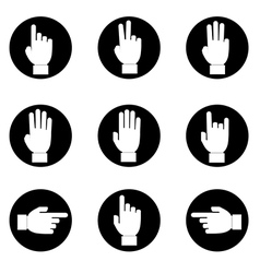 set of Black and white hands make number vector image