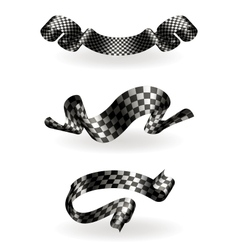 Checkered ribbons set vector image vector image