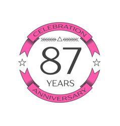 Eighty seven years anniversary celebration logo vector
