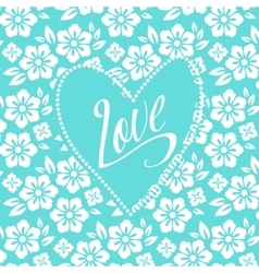 Postcard with turquoise heart on white floral vector image vector image
