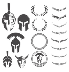 Set of the spartan warriors helmets and design vector image vector image