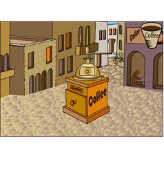 The city retro banner with a cup of coffee vector image vector image