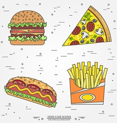 Thin line icon pizza fries hot dog and burger for vector