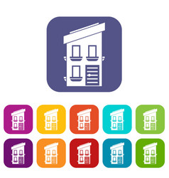 two-storey house icons set vector image