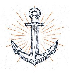 vintage anchor hand drawn sketch logo vector image