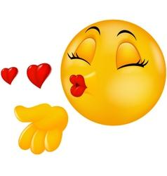 Cartoon smiley emoticon making air kiss vector image vector image