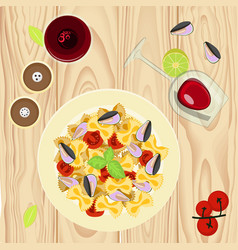 Farfalle pasta with mussels vector