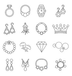 jewelry shop icons set outline style vector image