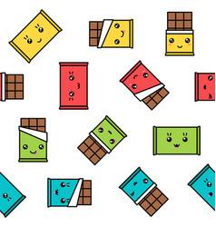 kawaii chocolate seamless pattern colorful vector image