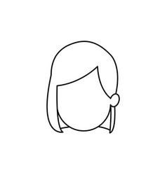 outline head girl character person vector image