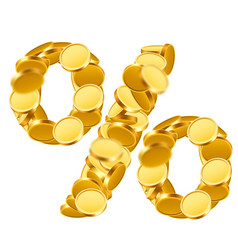 percent sign from golden coins isolated on white vector image