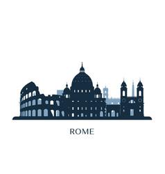rome skyline monochrome silhouette vector image vector image