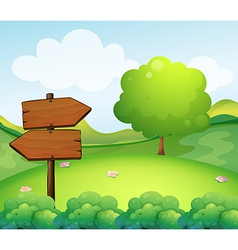 A wooden arrow board in the hill vector image vector image