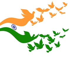 Abstract India flag with flying pigeon vector image