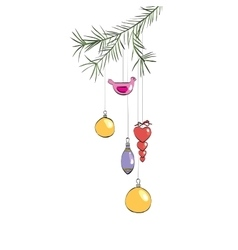 Christmas toys hanging on a branch vector image vector image
