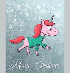 christmas with unicorn merry vector image vector image